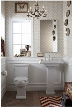 white wainscot + wallpaper
