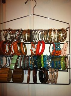 Great way to organize your bracelets (when they no longer fit on the paper towel holder- previously pinned)