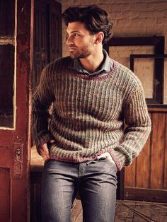 Yell - Knit this mens round neck sweater from Rowan Knitting & Crochet Magazine 58, a design by Gemma Atkinson using our wonderful yarns Felted Tweed (wool) and Colourspun (wool and mohair.)