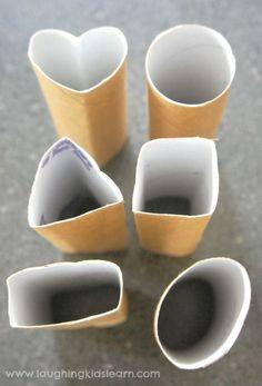 vormen stempelen met toiletrollen