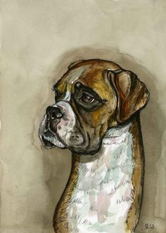 Little Snuffle Snout  Boxer Dog Art Print by AlmostAnAngel66