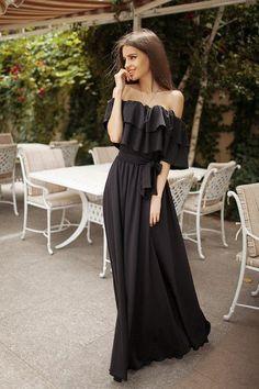 Платье женское в пол  двойная рюш черное, фото 1
