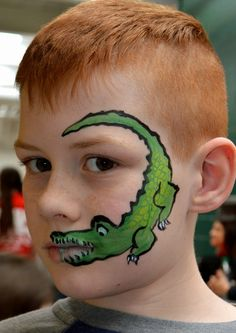 Alligator face painting by Larissa at www.njfacepainter.com