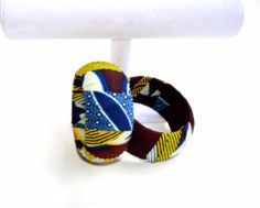 Yellow And Blue Wood Bangle Bracelet, ,Handmade African Print Bangle