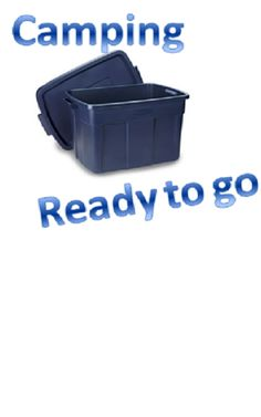 Let's go Camping! I have 2 plastic tubs- the big 5 gallon plastic things. They are both the same color blue. All of our camping necessities stay in those tubs. I am ready to go camping on a moments notice. Camping Survival, Camping Gear, Backpacking, Camping List, Camping Stuff, Camping Packing, Camping Guide, Packing Lists, Camping Lunches