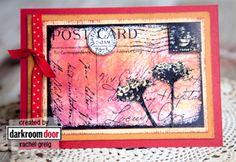 *Darkroom Door Cling Stamp FLORAL POST Collage Rubber UM DDCS005