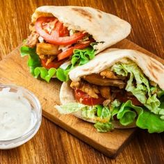 I like to toss all the ingredients together; you can layer them in the pita bread in order. Excellent for your next picnic or box lunch. Chicken Pita, Grilled Chicken, Pita Kebab, Pita Sandwiches, Fresh Guacamole, Cooking White Rice, Kebabs, International Recipes, Family Meals