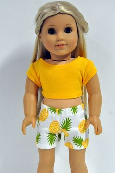 American Girl Doll Clothes Pineapple Print Shorts and Yellow Crop Top 18 by CircleCSewing