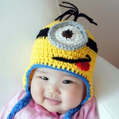 Minion Hat, Despicable Me, Crochet Baby Hat, Baby Hat, Animal Hat, Yellow, photo prop, Inspired by Despicable Me
