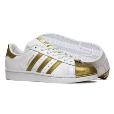 adidas Superstar Metallic white and gold trainers UK 10