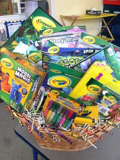 Raffle basket baskets pinterest raffle baskets basket ideas crayola gift basket negle Image collections