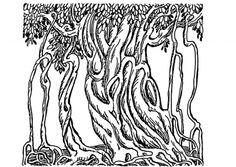 coloring page banyan tree