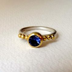 Handmade Iolite Ring, made from Yellow Gold and Silver Ring - Blossoming Branch Gold And Silver Rings, Sapphire, Jewelry Making, Band, Stone, Yellow, Handmade, Gifts, Sash