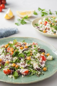 Recipe: Mediterranean Cauliflower Couscous Salad - use chopped, toasted walnuts in place of garbanzos and pine nuts Couscous Salad Recipes, Chickpea Recipes, Vegetarian Recipes, Healthy Recipes, Chickpea Salad, Quinoa, Supper Recipes, Whole Food Recipes, Cooking Recipes