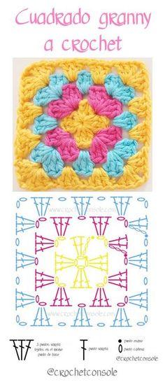 Cuadrado granny a crochet paso a paso Source by sucastroconti VEJA MAIS sucastroconti., Cuadrado granny a crochet paso a paso con video tutorial, # ✂❤ Granny Square Crochet Pattern, Crochet Flower Patterns, Crochet Diagram, Crochet Squares, Crochet Chart, Crochet Blanket Patterns, Crochet Motif, Crochet Designs, Crochet Stitches