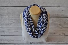 Navy Ikat Infinity scarf for Women