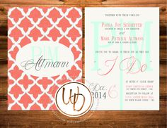 Patterned wedding invitation by Wentroth Designs. Visit us on Facebook to request a price quote on items for your special day!