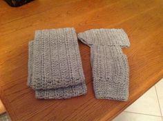 Crochet gray cowl scarf,boot cuffs and ear warmer