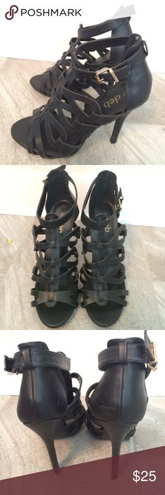 Deb strappy style high heels.  Man made DEB  strappy style high heels.  Man made.  Excellent condition! Deb Shoes Sandals