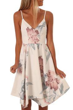 Summer White Floral Asymmetric Hem Sway Dress