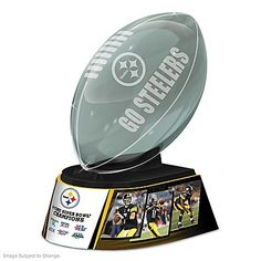 Reflections Of Pride NFL Pittsburgh Steelers Glass Football Sculpture