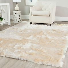 Safavieh Handmade Silken Glam Paris Shag Ivory Rug - x Square x Square - ivory) (Polyester, Solid) Polyester Rugs, Family Room Decorating, Cool Rugs, Home Living, Dorm Rooms, Rugs In Living Room, Living Spaces, How To Clean Carpet, My New Room