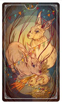 Four of Wands  Ostara Tarot - - If you love tarot, visit me at www,WhiteRabbitTarot.com