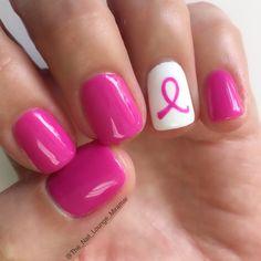 Pink ribbon October breast cancer awareness nail art design