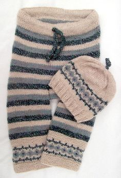 Hand Knitted Trousers with Matching hat - for cloth nappy wearing babies 3-6 months - Ecru with fair isle border in blue & green. - pinned by pin4etsy.com