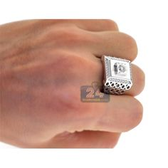 Mens Diamond Rectangle Solitaire Ring 18K White Gold 1.05 ct
