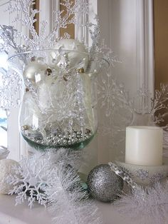 snowflake and icicle filled hurricane vase