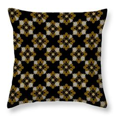 """Floral Pattern 14"""" x 14"""" Throw Pillow by Christina Rollo.  Our throw pillows are made from 100% cotton fabric and add a stylish statement to any room.  Pillows are available in sizes from 14"""" x 14"""" up to 26"""" x 26"""".  Each pillow is printed on both sides (same image) and includes a concealed zipper and removable insert (if selected) for easy cleaning."""