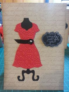 Tracey Britton from Australia made this cute card using our Dress Form Pop 'n Cuts die. We love the faux chalkboard!