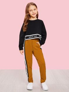 To find out about the Girls Elastic Waist Tape Side Pants at SHEIN, part of our latest Girls Pants & Leggings ready to shop online today! Girls Fashion Clothes, Kids Outfits Girls, Cute Girl Outfits, Tween Fashion, Cute Casual Outfits, Fashion News, Fashion Outfits, Girls In Leggings, Girls Pants