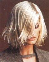 Short medium hair cut, layers, blonde, wispy bangs, pure white blonde