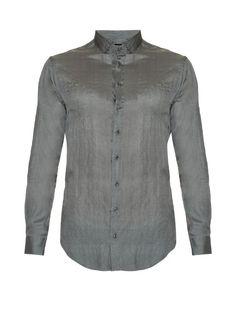 GIORGIO ARMANI Button-Cuff Silk Shirt. #giorgioarmani #cloth #shirt