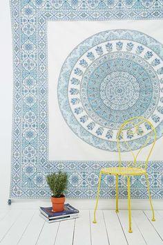 Devi Tasseled Tapestry Throw in Blue