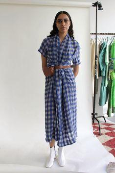 Aurora Dress, Ticking Stripe, Long Ties, Blue Plaid, Dress Making, Wrap Dress, Shirt Dress, Sleeves, Cotton