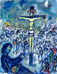 Le peintre et le Christ, ca Oil, pen and Indian ink on masonite Marc Chagall, Folklore Russe, Pablo Picasso, Chagall Paintings, Bible Illustrations, Biblical Art, Modern Artists, Bible Art, Religious Art