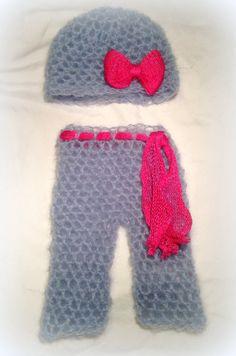 Crochet newborn girl boho mohair pants and hat by FreshOffTheeHook, $30.00