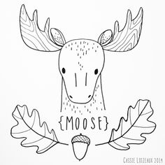 Moose. Day 112 of yearlong sketchbook project. Cassie Loizeaux 2014