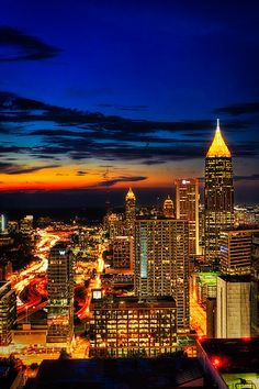 Gorgeous night view of downtown Atlanta, Georgia