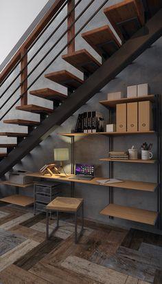 Небольшая рабочая зона из системы хранения ELFA в проекте частного дома от дизайнера Дмитриевой Ирины.
