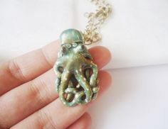 $45 Blue Green Octopus Necklace, Nautical, Ocean Lovers, Enameled Pendant