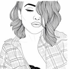 Black and white uploaded by on We Heart It Tumblr Girl Drawing, Tumblr Sketches, Art Tumblr, Tumblr Drawings, Tumblr Hipster, Tumblr Girls, Art Sketches, Tumblr Outline, Outline Art