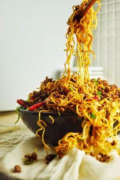 """FUCHSIA DUNLOP'S DAN DAN MIEN aka DAN DAN MIAN aka DAN DAN NOODLES ~~~ this recipe is adapted from the book, """"land of plenty"""". the above image from the attached blog is so rock star i could not resist pinning it over and above my present dan dan mien pin hub located at https://www.pinterest.com/pin/239816748883178778/ i am thinking this might be my favorite noodle image of all time ♥ thank you, amanda!!! [China, Sichuan Province] [amandasninjakitchen] [sichuan, szechwan, szechuan]"""