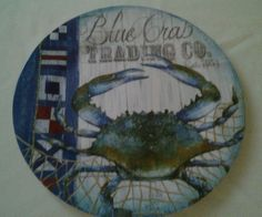 Blue Crab Melamine Dinner Plates Nautical Set of 4 NWT