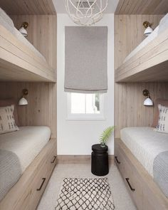 Why are built in bunks SO fun to design? I guess because the idea of nestling into a little nook at night, and designing all the ways to maxamize cozy, is SO FUN! This one designed by is a real fan fave! All about that bunk life // design via // Bunk Bed Rooms, Bunk Beds Built In, Bunk Beds With Storage, Modern Bunk Beds, Bunk Beds With Stairs, Kids Bunk Beds, Bedrooms, Bunk Beds For Adults, Corner Bunk Beds