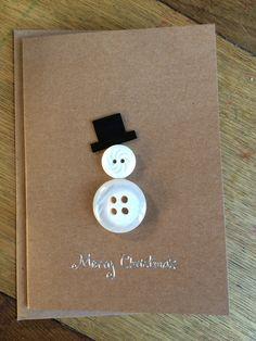 Christmas button snowman card