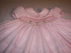 Smocked Easter Dress Custom Order - Sheep or Rabbits - Peter Pan Collar,  ORDER EARLY